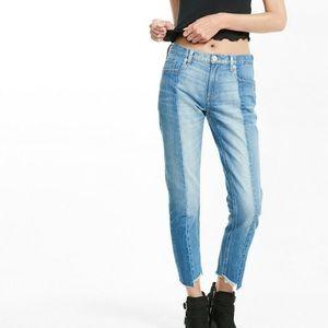 Express raw hem girlfriend two tone jeans